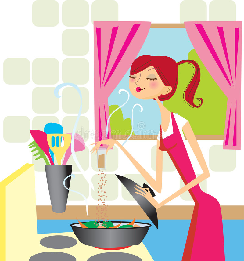 Kokende vrouw stock illustratie