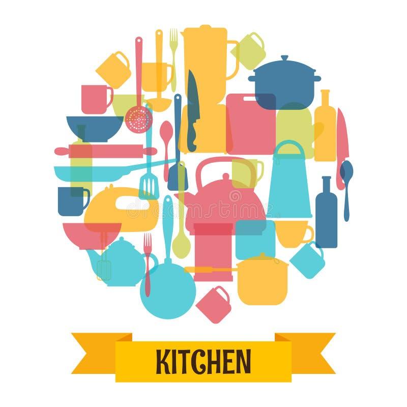 Kokende werktuigenachtergrond Keuken en restaurantmateriaal royalty-vrije illustratie