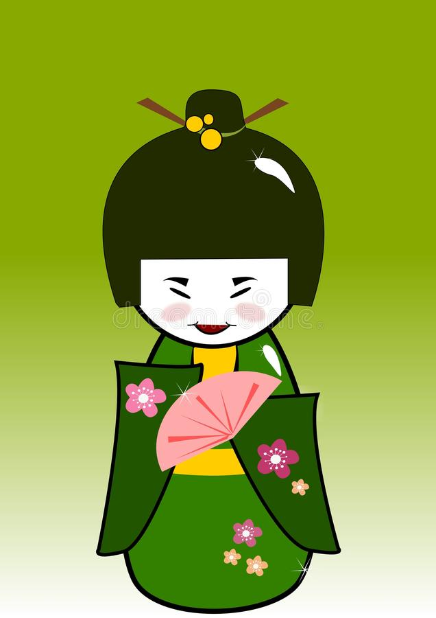 Kokeshi doll. Abstract illustration of the traditional japanese doll with green background stock illustration