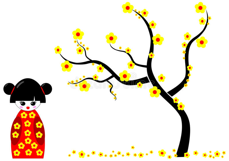 Kokeshi Doll with Yellow flowers tree stock illustration