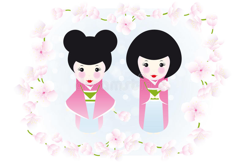 Kokeshi dolls and cherry blossoms. Cute illustration of two wooden dolls framed by cherry blossoms royalty free illustration