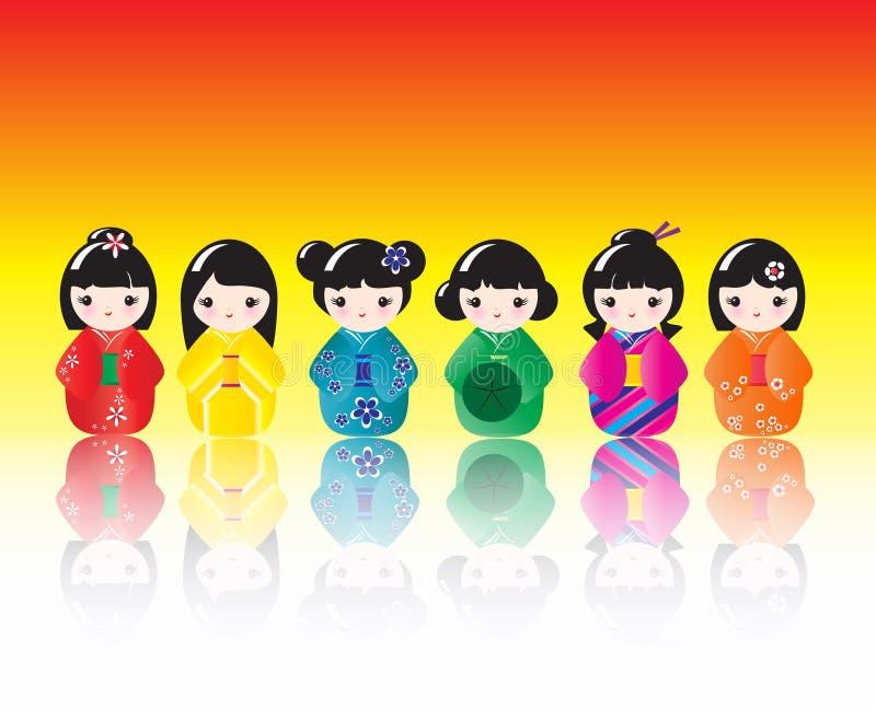 Kokeshi Dolls Reflected Royalty Free Stock Images