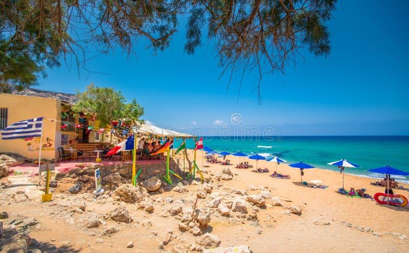 Kokini ammos the unique nudist beach near Matala, Crete, Greece. Kokini ammos the unique nudist beach near Matala, Crete, Greece on June 16, 2017 stock image