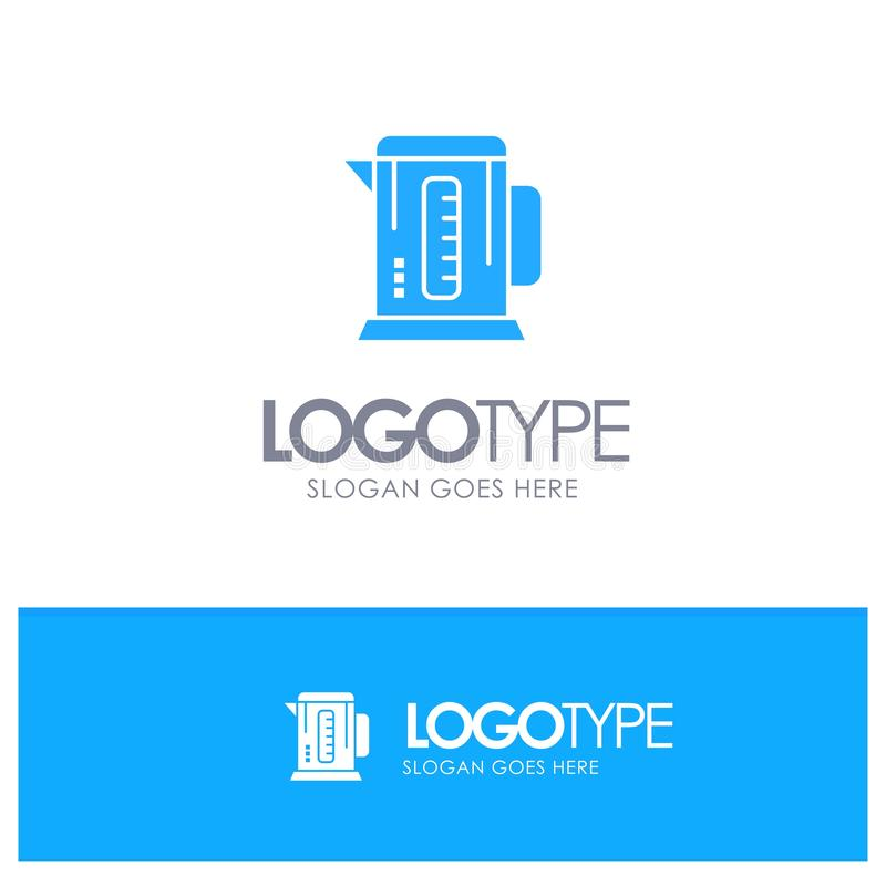 Kokkärl kaffe, maskin, blå logovektor för hotell vektor illustrationer