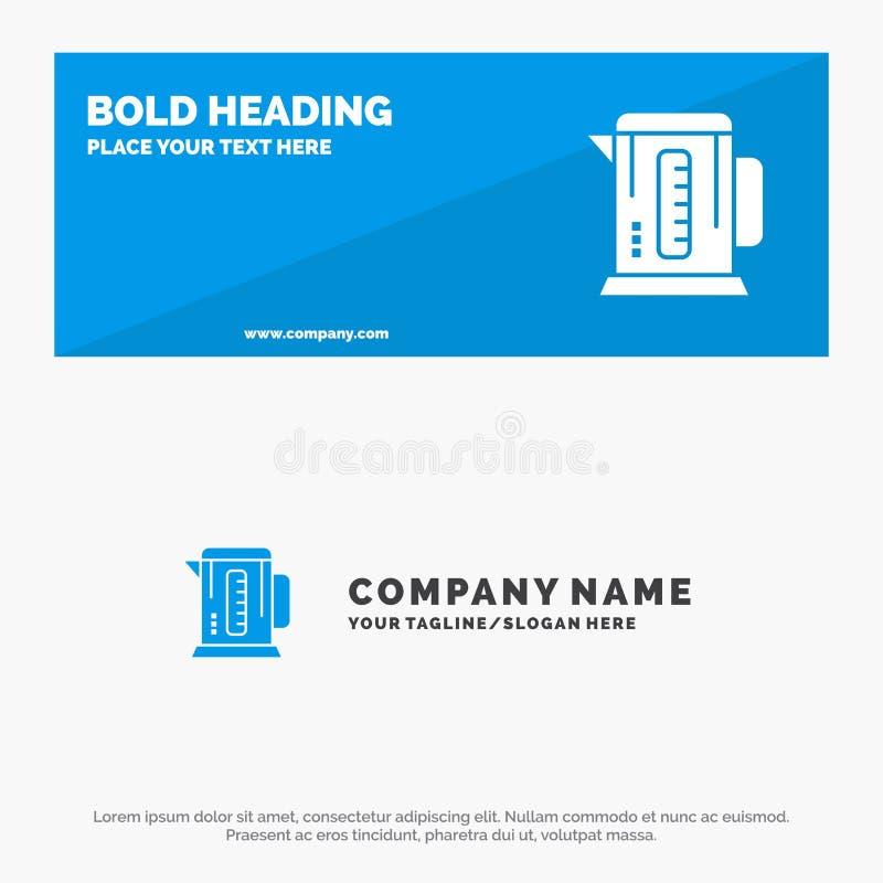 Kokkärl, kaffe, maskin, för symbolsWebsite för hotell fast baner och affär Logo Template royaltyfri illustrationer