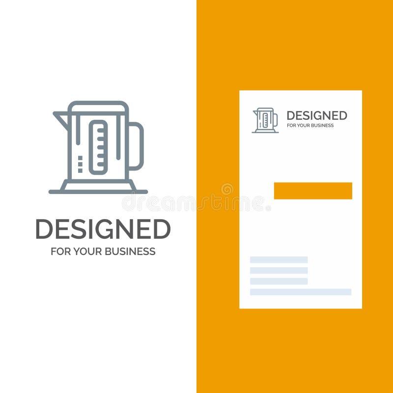 Kokkärl, kaffe, maskin, hotell Grey Logo Design och mall för affärskort vektor illustrationer