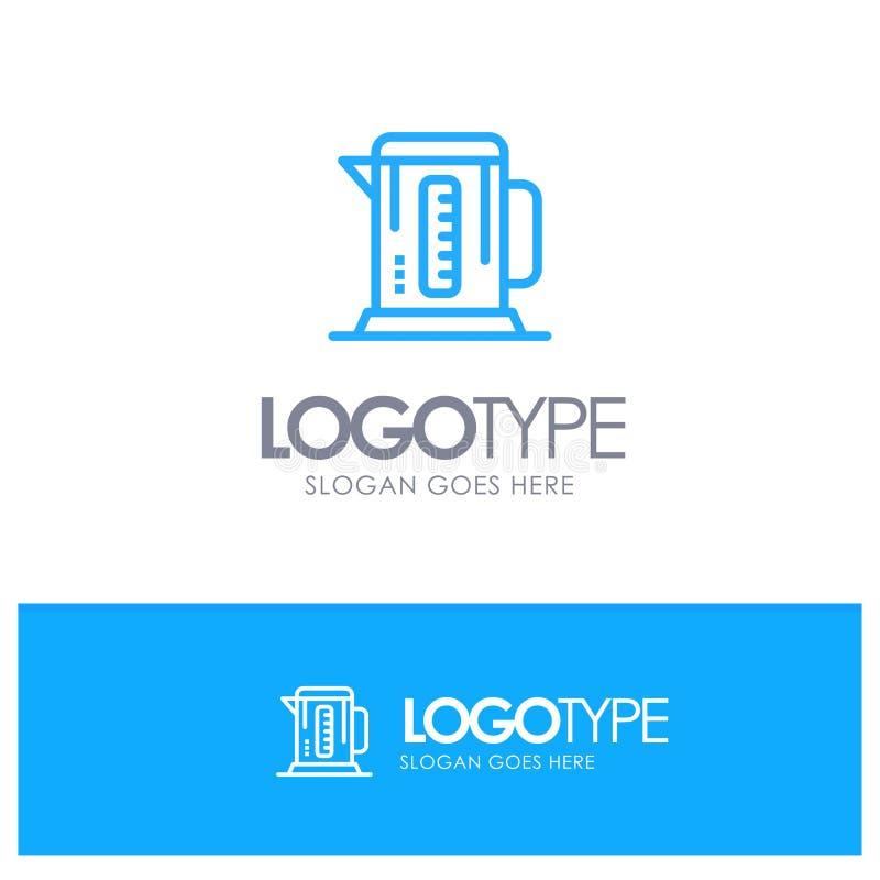 Kokkärl kaffe, maskin, hotellblått Logo Line Style stock illustrationer