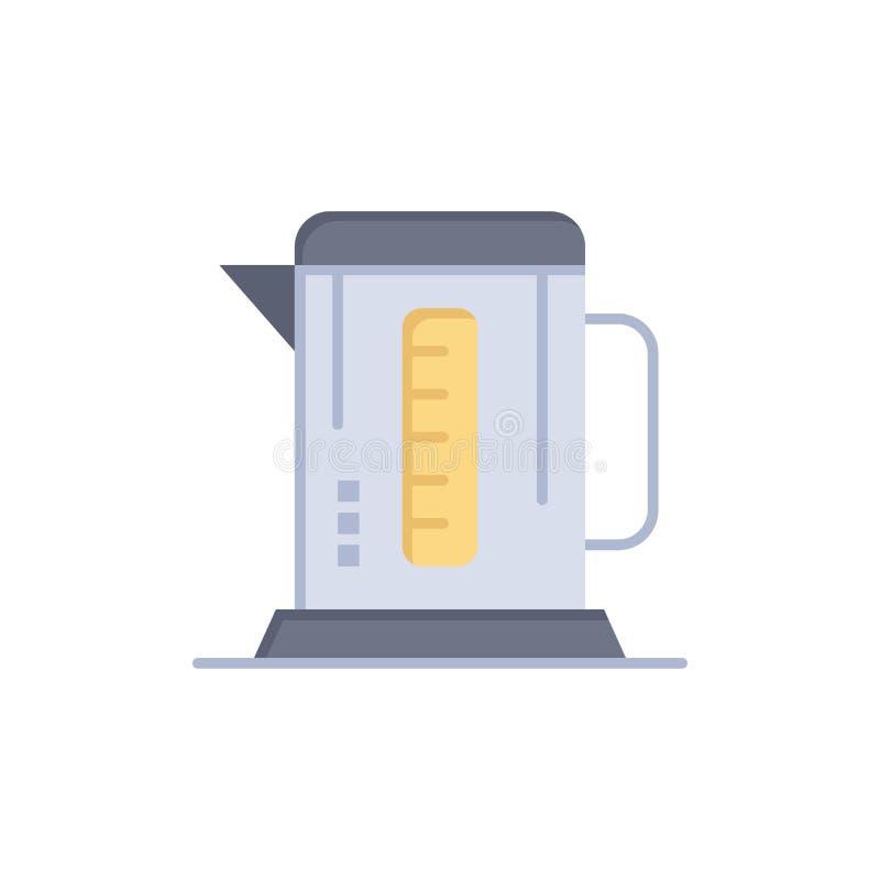 Kokkärl kaffe, maskin, plan färgsymbol för hotell Mall för vektorsymbolsbaner royaltyfri illustrationer