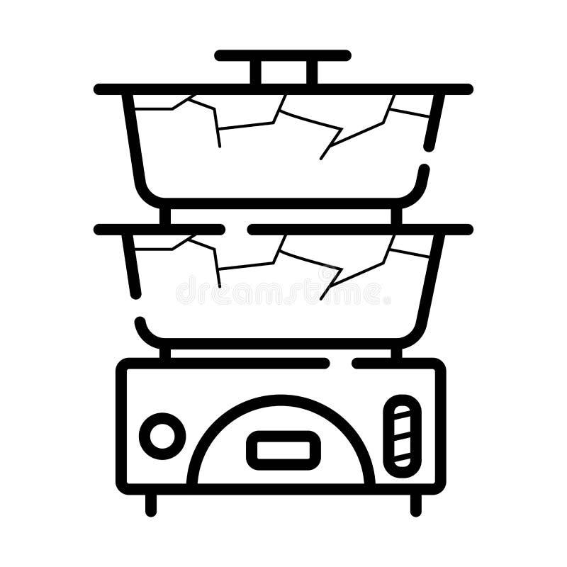 Kokkärlsymbolsvektor stock illustrationer