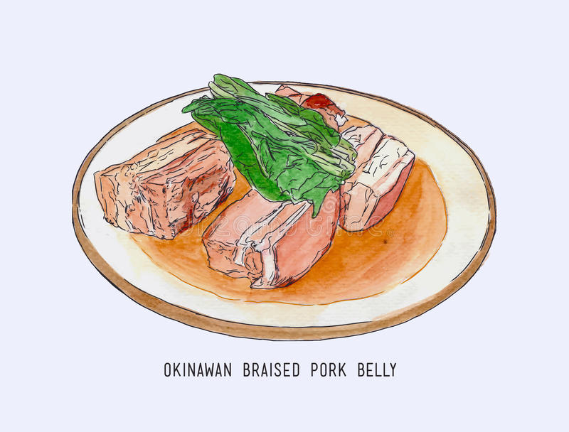 Kokkonst för maträtten för grisköttbuken skissar Okinawan, hand dragen vattenfärg royaltyfri illustrationer