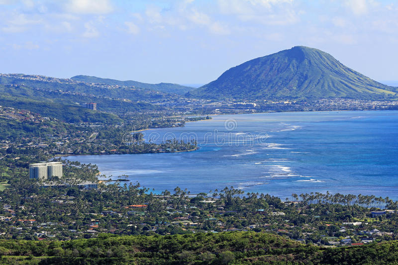 Koko Crater on Pacific Ocean. Landscape with coast of Oahu with Koko Crater, Hawaii stock photo
