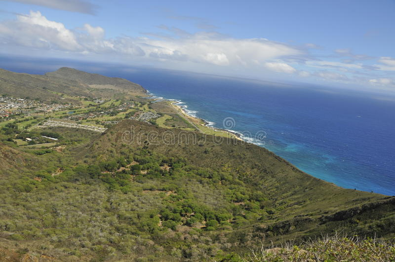 Koko Crater Summit in Hawaii. Vista View from Summit of Koko Crater, Oahu, Hawaii Looking East Towards Makapuu Point royalty free stock image