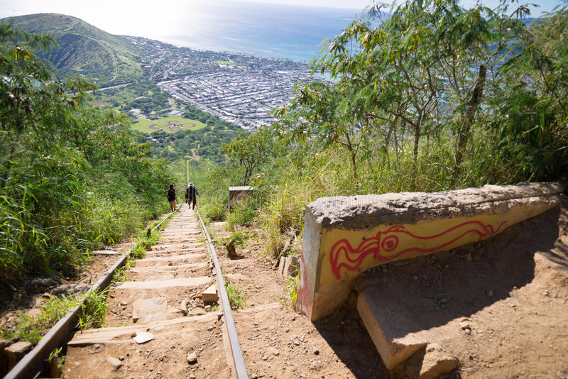Koko Head Crater and hikers. Koko Head's Crater and hikers attempting to climb its 1048 steps stock images