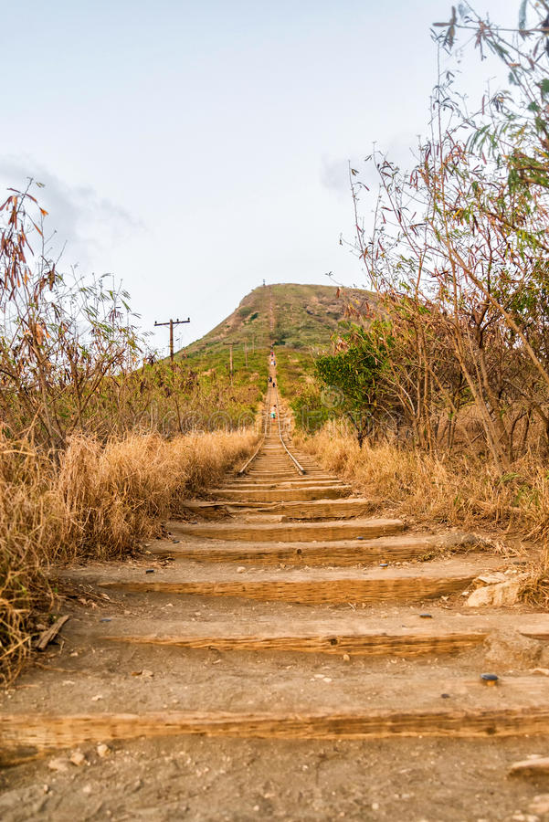 Koko Head Crater stairs, formerly a railway. Popular hike and exercise stairs royalty free stock photo