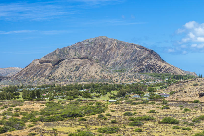 Koko Head Crater. A view from the back of Koko Head Crater on Oahu, Hawaii royalty free stock photography