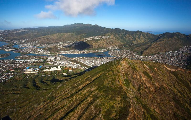 Beautiful Aerial Koko Head Crater with Hawaii Kia and Diamondhead Crater Oahu Hawaii. Koko Head is the headland that defines the eastern side of Maunalua Bay royalty free stock photography