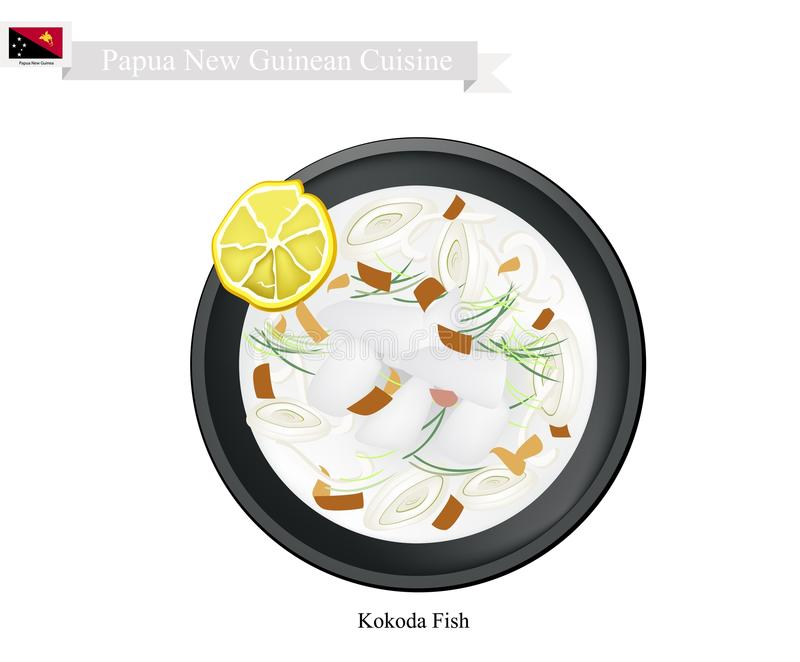 Kokoda or Papua New Guinean Raw Fish in Coconut Milk. Papua New Guinean Cuisine, Kokoda or Traditional Raw Fish Marinated in Citrus Juice and Coconut Cream. One royalty free illustration