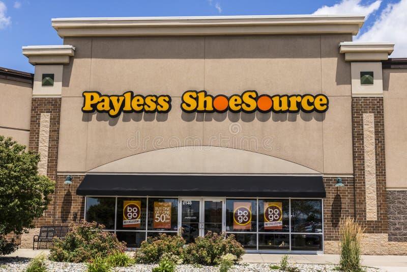 Kokomo - Circa June 2017: Payless ShoeSource Retail Strip Mall Location. Payless ShoeSource sells shoes at a discount I. Payless ShoeSource Retail Strip Mall stock photography