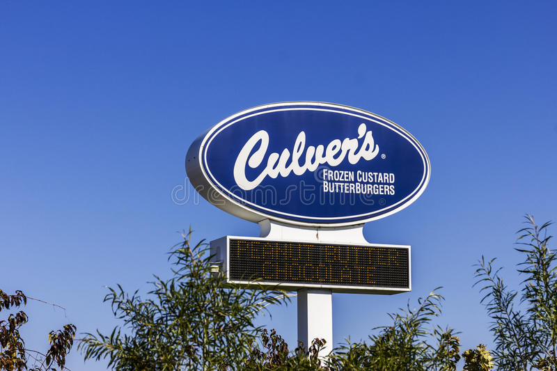 Kokomo - Circa November 2016: Culver`s Fast Casual Location. Culver`s is Famous for their Butterburgers and Frozen Custard I. Culver`s Fast Casual Location royalty free stock image