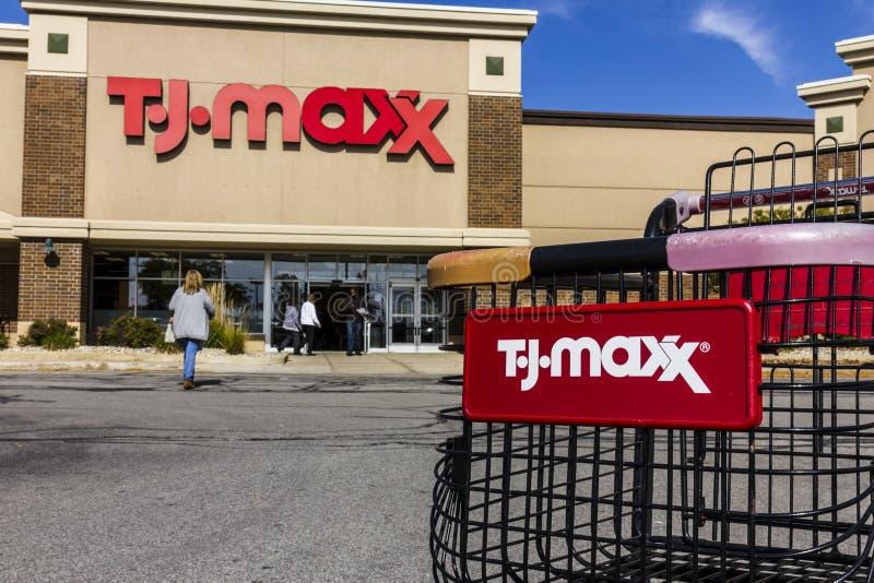 Kokomo - Circa October 2016: T.J. Maxx Retail Store Location. T.J Maxx is a discount retail chain V. T.J. Maxx Retail Store Location. T.J Maxx is a discount royalty free stock images