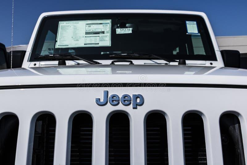 Kokomo - vers en août 2017 : Jeep Automobile Dealership La jeep est une filiale des automobiles FACU III de Fiat Chrysler images libres de droits