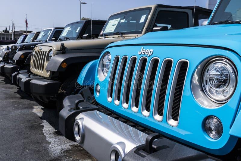 Kokomo - vers en août 2017 : Jeep Automobile Dealership La jeep est une filiale des automobiles FACU IV de Fiat Chrysler image stock