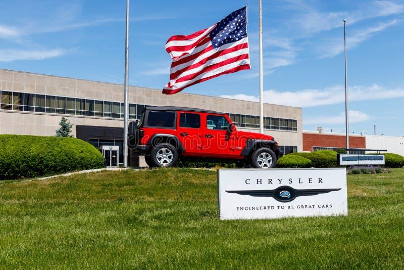 Kokomo - vers en mai 2018 : Jeep Wrangler sur l'affichage à l'usine VI de transmission de Chrysler photographie stock libre de droits