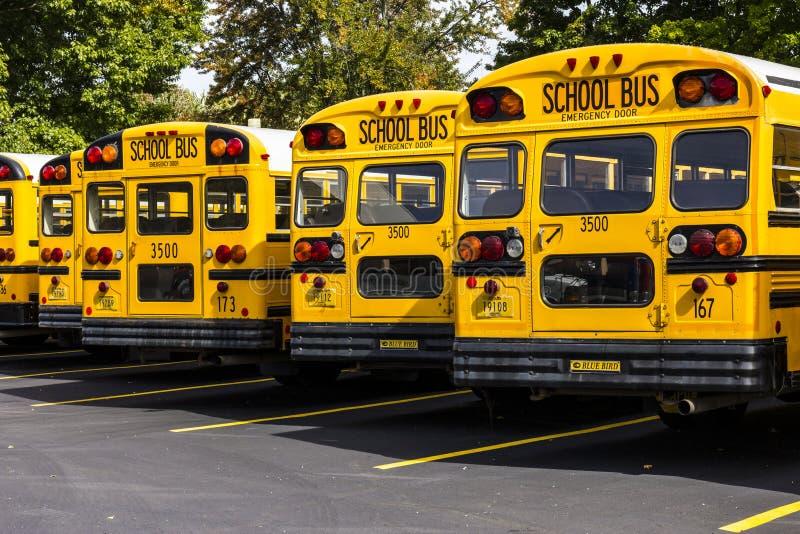 Kokomo - vers en octobre 2016 : Autobus scolaires jaunes dans un sort de secteur attendant pour partir pour des étudiants V image stock