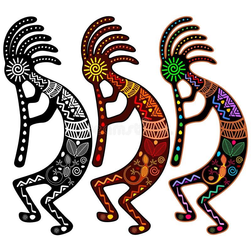 Kokopelli - set 3 koloru royalty ilustracja
