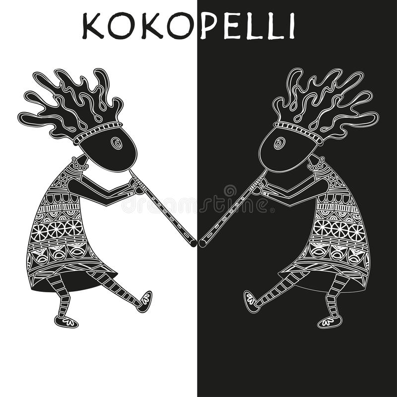 kokopelli - wektorowa etniczna ilustracja royalty ilustracja