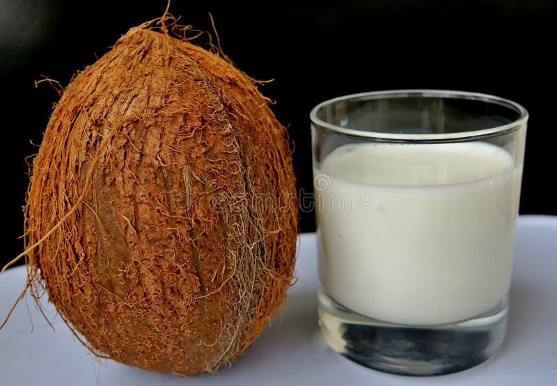 Kokosmilch mit einer großen braunen Nuss nahe bei einem schwarzen Hintergrund lizenzfreie stockfotografie
