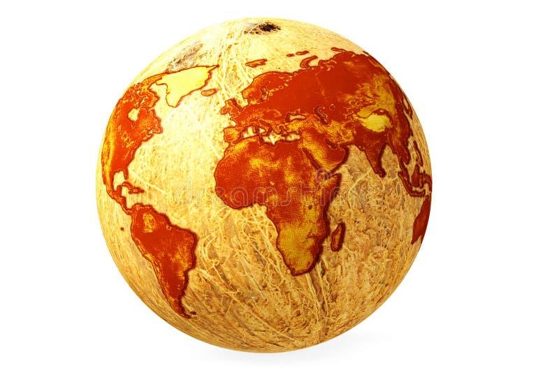 Kokosnöt för världsjordklotöversikt stock illustrationer