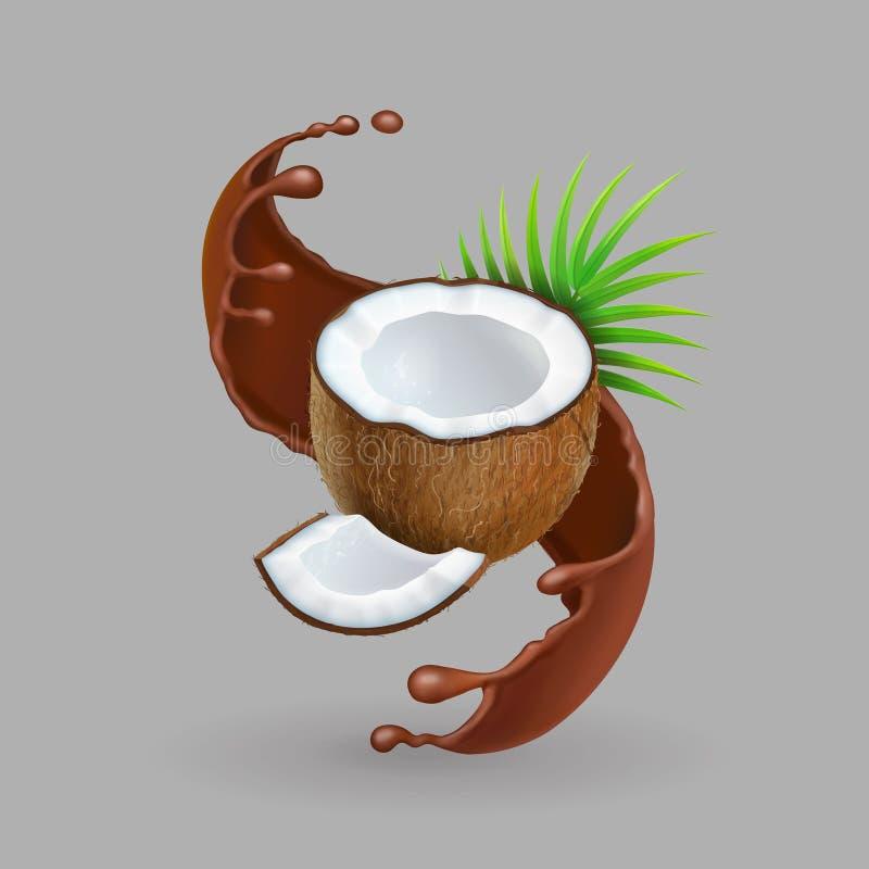 Kokosnöt i illustration för vektor 3d för chokolatefärgstänk realistisk royaltyfri illustrationer