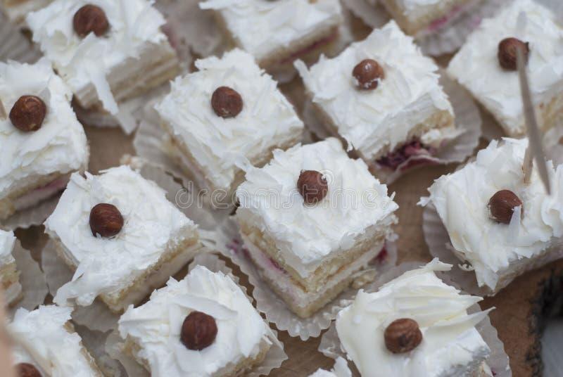 Kokosnöt Mini White Cake på godisstången med jordnötter arkivbilder