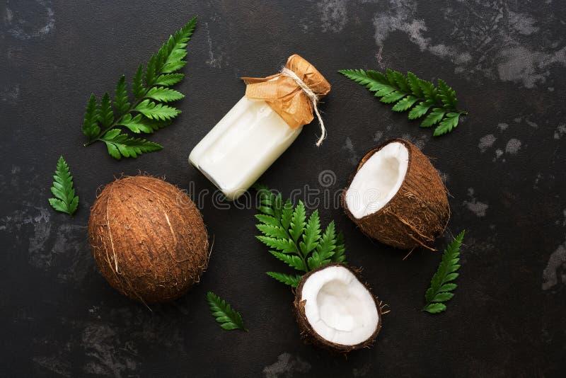Kokosnöt och att mjölka i en flaska som dekoreras med ormbunkesidor på en svart stenbakgrund Bästa sikt, lekmanna- lägenhet fotografering för bildbyråer