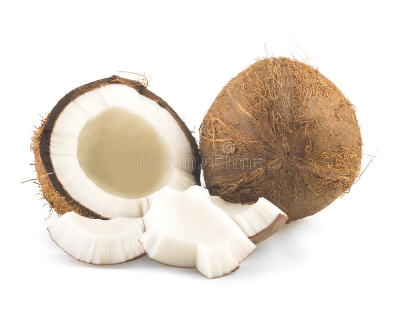 Kokosnöt som klipps i halva arkivbild