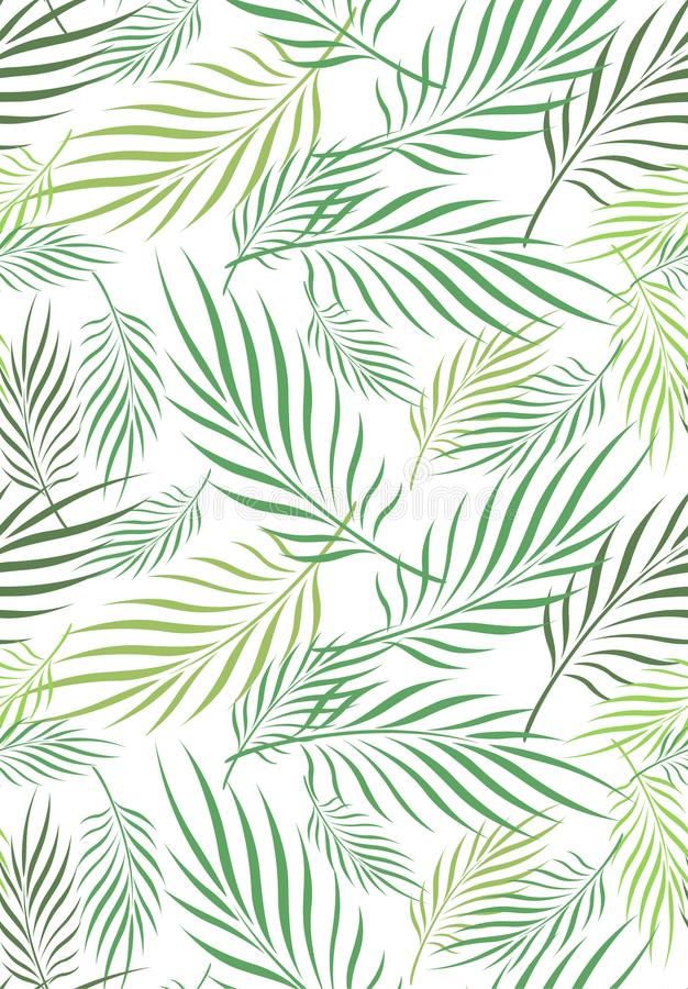 Kokosnötblad Art Seamless Pattern vektor illustrationer