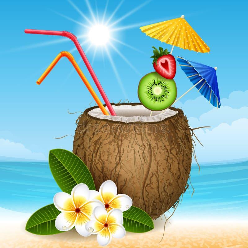 Kokosnötcoctail stock illustrationer