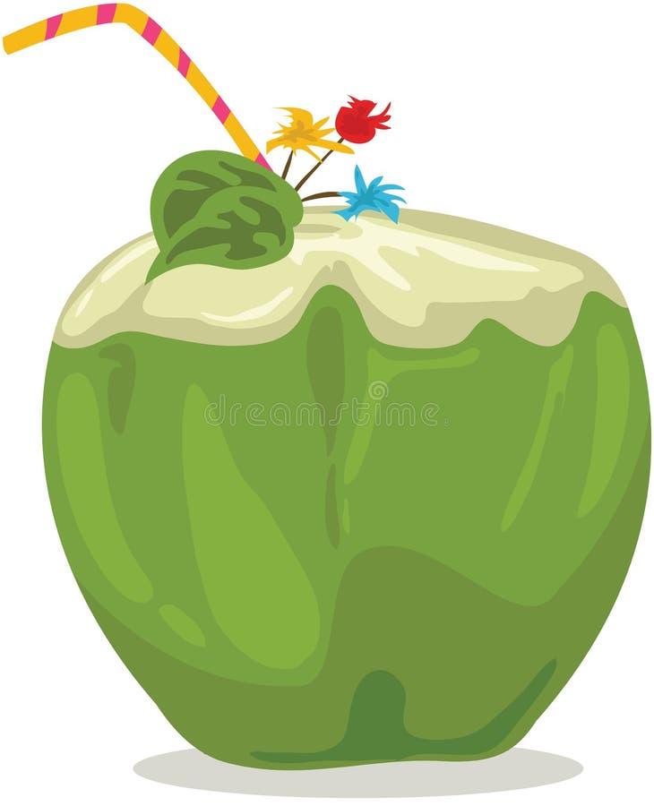 kokosnötdrinkvatten stock illustrationer