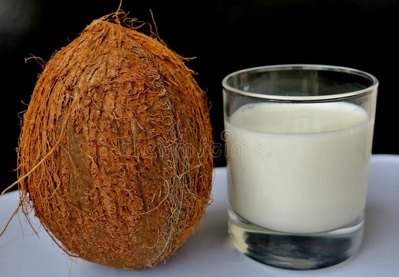 Kokosnöten mjölkar med en stor brun mutter bredvid en svart bakgrund royaltyfri fotografi
