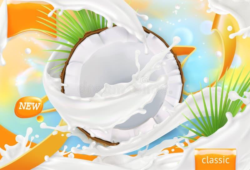 Kokosnöten mjölkar Vitkrämfärgstänk vektor 3d royaltyfri illustrationer