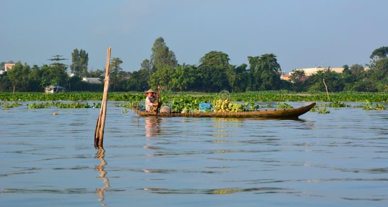 Kokosnötförsäljare Mekong delta som svävar marknaden Långa Xuyen vietnam arkivbilder