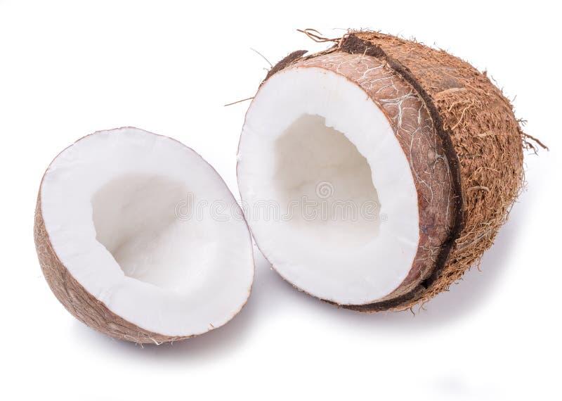 Kokosnötfrukt med den halva kokosnöten royaltyfria foton