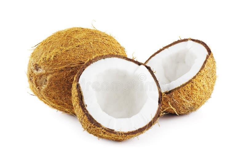 Kokosnötter på vit