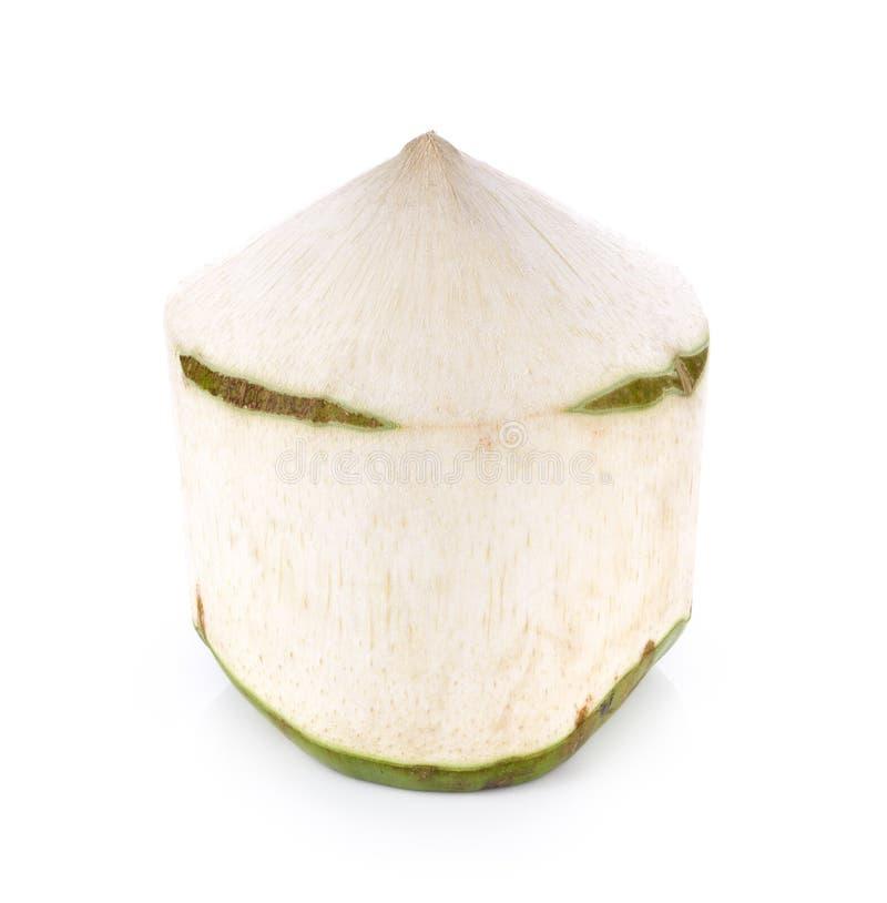 Kokosnötvattendrink på vit bakgrund fotografering för bildbyråer