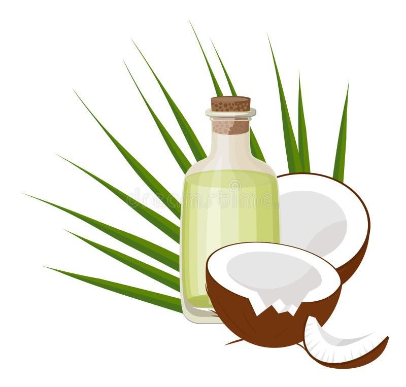 Kokosnüsse und Kokosnussöl mit tropischen Palmblättern Gesundheitswesen Alternative Therapie Vektorillustration auf Weiß vektor abbildung