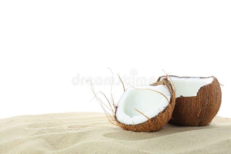 Kokosn?sse auf dem klaren Meersand lokalisiert auf wei?em Hintergrund Sommer stockbild
