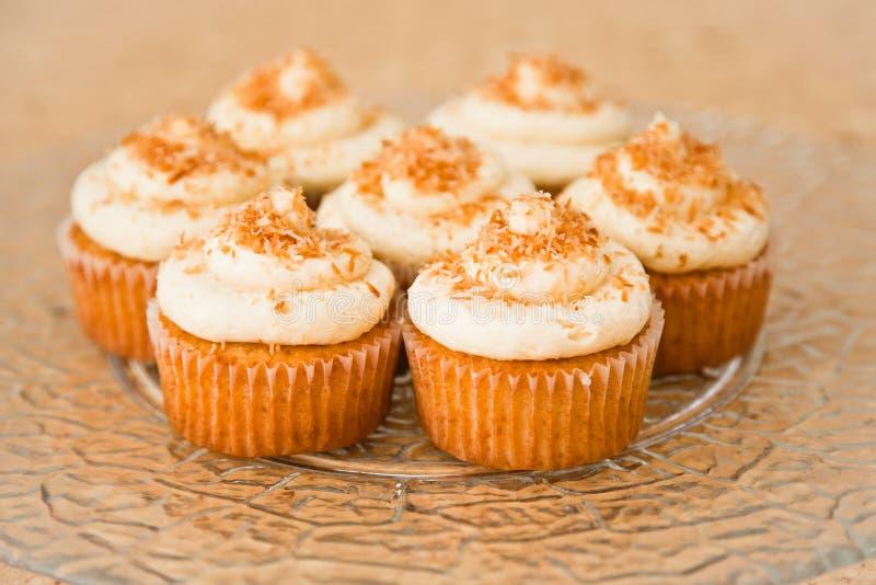 Kokosnoot cupcakes royalty-vrije stock foto's