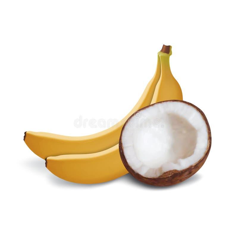 Kokosnoot en bananen stock illustratie