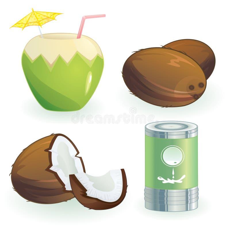 Kokosnoot en producten royalty-vrije illustratie